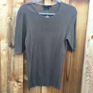 Brown Gucci Elbow Length Cashmere Silk Sweater